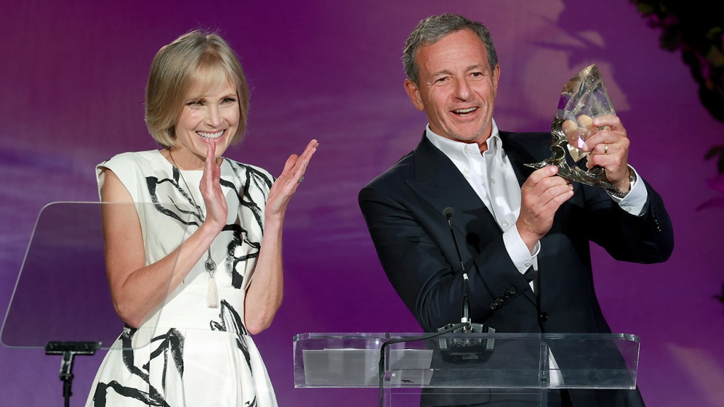 Willow Bay and Bob Iger speak onstage during the YES th Anniversary Gala Getty H